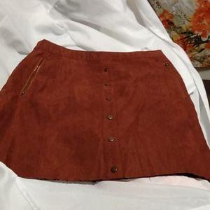 Red papaya suede mini skirt